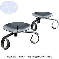 Paquete de 2 portavelas negras con 3 patas (8cm de diámetro)
