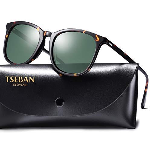 TSEBAN Sonnenbrille Damen Polarisierte Outdoor Fahren Brille mit UV400 Schutz, Acetat Rahmen (Rahmen: Schwarz; Linsen: Grün) -