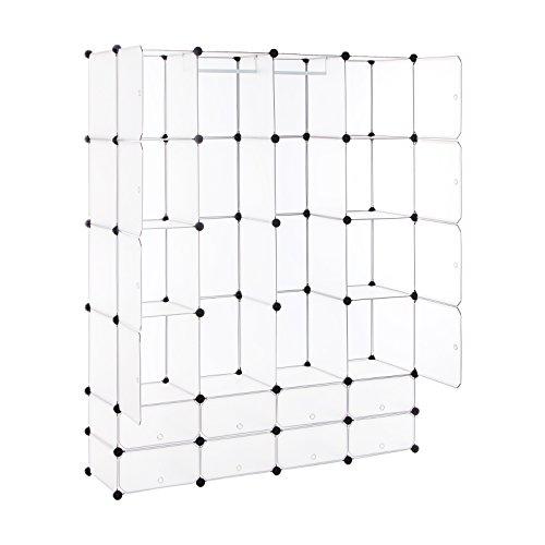 Songmics Kleiderschrank Garderobenschrank Steckregalsystem mit Schuhregal2 Kleiderstange Kapazität 960L Weiß 180 x 145 x 37 cm LPC42W