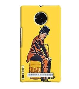 Omnam Charlie Chaplin Sitting Sad Printed Designer Back Cover Case For Micromax Yunique
