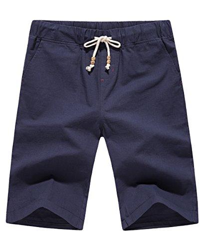 LILBETTER Mens Drawstring Pocket Elastic Linen Casual Cargo Shorts (XS,S,M,L,XL,2XL,3XL)