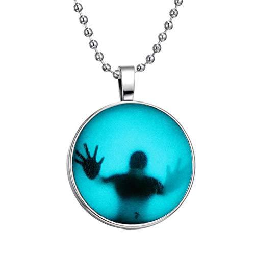 Amosfun Halloween Anhänger Halskette Little Man in Glass Glow-in-Dark-Kette für Halloween-Partyzubehör