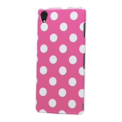 iCues Sony Xperia Z3 |  Polka Dots TPU Case Pink | [Bildschirm Schutzfolie Inklusive] Damen Frauen Mädchen Silikon Gel Motiv Muster Schutzhülle Hülle Cover Schutz