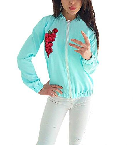 Damen Bomberjacke Elegant Bestickt Blumen Langarm mit Reißverschluss Classics Vintage Party Stil Ethno Hippie Style Herbst Winter Blouson...