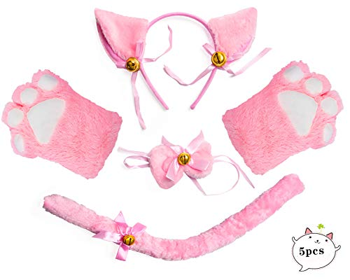 Kostüm Cat Tail Pink - Beelittle Cat Cosplay Costume Oreilles de chaton Tail Collar Paws Cat Collection Cosplay 5 Pack (Pink)