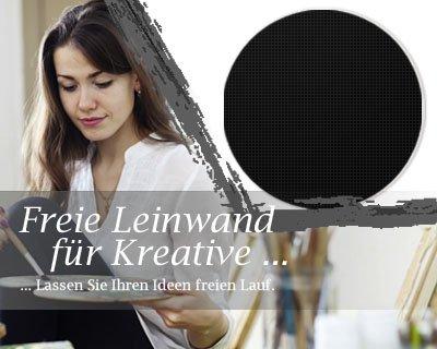 Bilderdepot24 Toile en Noir, paintable qualité Premium, monté sur Le châssis - Le Format Rond - Environ 60 cm - 330g/m² - complètement encadrée, 7 Couleurs Disponibles