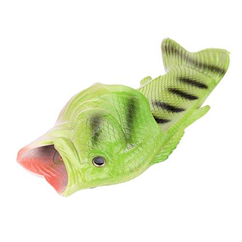 Uomogo® ciabatte unisex divertenti a forma di pesce, unisex divertente pantofole a forma di pesce ciabatte da spiaggia pantofole da bagno infradito scarpe (cn:36-37, verde)