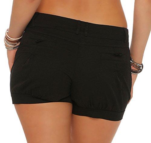 malito Damen Shorts in Unifarben   Bermuda für den Strand   lässige kurze Hose   Pants �?Hotpants �?Hose 6088 Schwarz