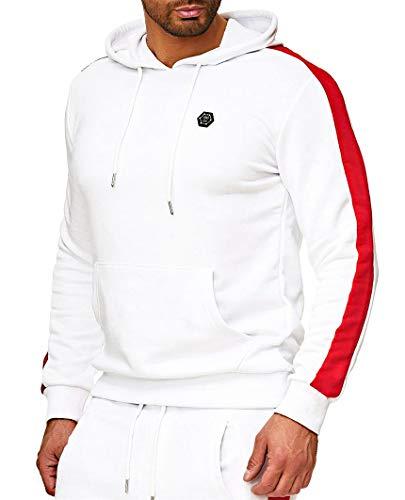 Herren Kapuzenpullover Pullover Kapuze Hoodie Pulli Sweatshirt Jacke Grobstrick Winter Strick Strickjacke Hoody Cardigan Feinstrick Sweater Sweat-Jacke Sweatshirt (XL, Weiß - roter Streifen) -