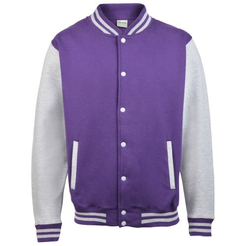 AWDis Just hottes Men's Elle possede Letterman Varsity Veste de baseball - Purple / Heather Grey