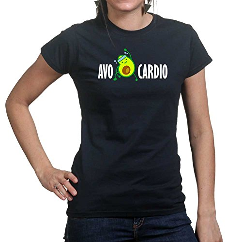 Womens Avocardio Avocado Fitness Training Sports Funny Ladies Small Black (T-shirt Fitted Design-womens)