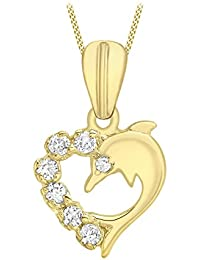 Carissima Gold - Femme - Collier avec pendentif cœur - Or - (9 Carat) - Oxyde de zirconium