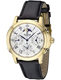 Accurist Men's Quartz Watch with Silver Dial Chronograph Display and Black Leather Strap Gmt320W