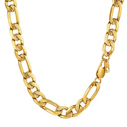 PROSTEEL Chaîne Plaqué Or Bijoux Collier Homme Maille Figaro 1+3 Single Link Chain Necklace Fashion Bijoux pour Garçon - 10mm de Large - 51cm de Long (Doré)