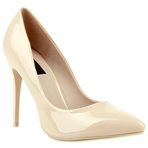 Stiefelparadies Spitze Damen Pumps Lack Stiletto High Heels Metallic Party Glitzer Abiball Hochzeit Schuhe 104679 Nude 35 Flandell