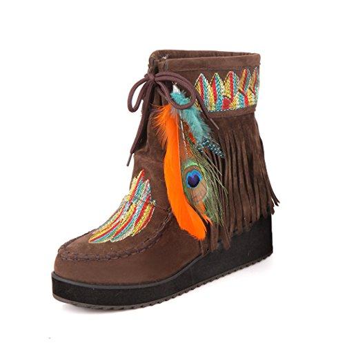 ZQ@QXcadeau de Noël L'Europe et de l'United States Code pente avec gommage à plumes bottes bottes bottes de national velvet