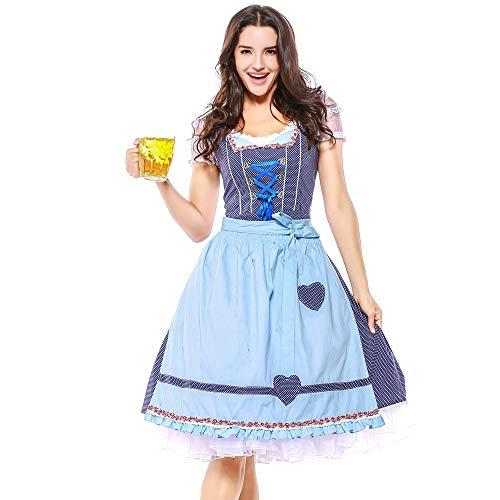 Verschiedene Kostüm Cosplay - Dirndl Mädchen PPangUDing Kleid Maid Oktoberfest Gitter Midi Kostüm Kellnerin Cosplay Bayerische München Bierfest Zofe Abendkleid Trachtenbluse Retro Cocktailkleid (XL, Blau)