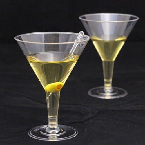 Martini-Gläser, 200 ml, klar, Einwegartikel, Kunststoff mit Stiel, 24 Stück (Obst-bond)