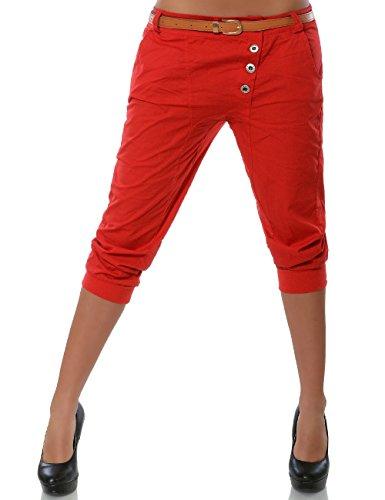 Daleus Damen Boyfriend Chino Capri Hose Knopfleiste inkl. Gürtel (weitere Farben) No 15518, Farbe:Rot;Größe:36 / S (Gürtel Kürzere)