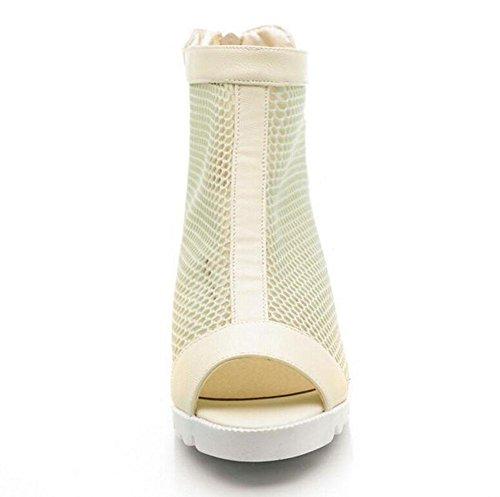 SHIXR Femmes Pompes Mesh Sandales à talons hauts talon de l'Ouest Peep Toe Roman Chaussures Side Zipper Platform Chaussures Noir Blanc beige