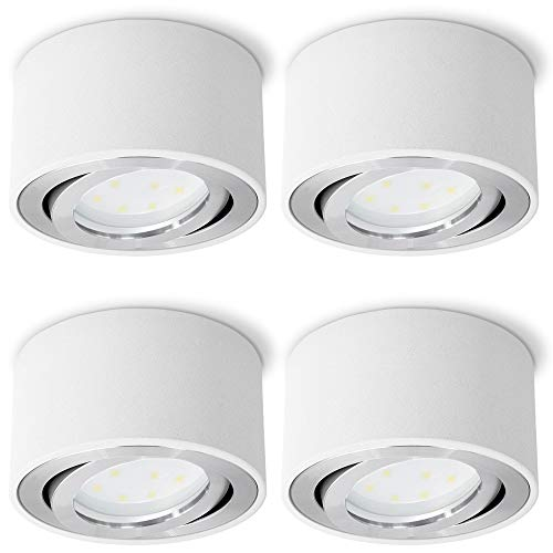 4er Set CELI-1W Aufbauspot weiß, rund & dimmbar - mit wechselbarem LED dim 5W warmweiß 230V - Aufbaustrahler flach schwenkbar