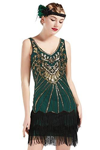 ArtiDeco Damen Kleid Retro 1920er Stil Flapper Kleider mit Zwei Schichten Troddel V Ausschnitt Great Gatsby Motto Party Kleider Damen Kostüm Kleid (Grün Gold - Stil 2, S (Fits 74-78 cm Waist))