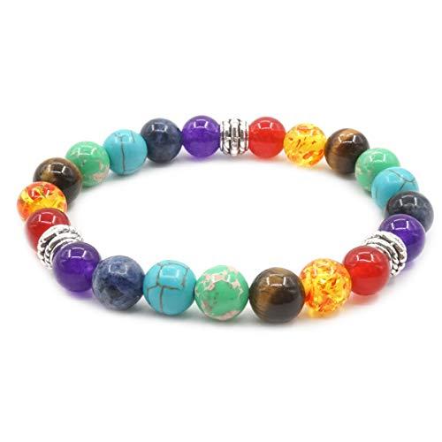 Pulsera de Piedra de 7 Chakra Reiki 8 mm Bead Yoga Meditación Curativa Pulsera Elástica del Encanto para Hombres y Mujeres