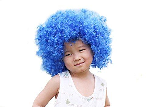 DELEY Kind Halloween Kostüm Bunt Lockig Afro Clown Perücke Party Perücke Zubehör Royal Blau (Blau Perücke Kostüm)