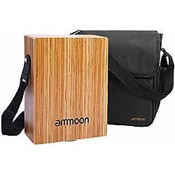 ammoon Cajon Portable Boîte à tambour à main plat Instrument à percussion boisée avec sac de transport