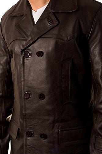 Dr Who style militaire ˆ double boutonnage U-bateau en cuir du Caban allemand Homme Marron