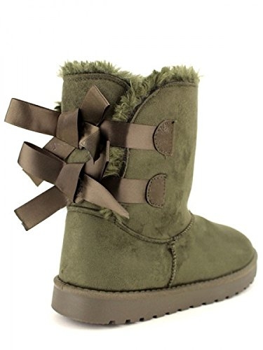 Cendriyon, Boots Kaki Fourrées C'M moda Chaussures Femme Kaki