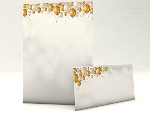 Motivpapier mit Briefumschlag Edle Ballons 50 Blatt A4 und 50 passende Kuverts Geburtstag Jubiläum Glückwunsch (Eleganter 50 Geburtstag Einladungen)