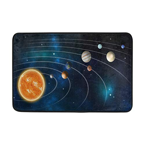 23.6x15.7 inch/60x40cm Non-Slip Polyester Doormat Space Solar System Model Elements Washable Entrance Rug for Inside Floor Living Room Toilet Patio Garage