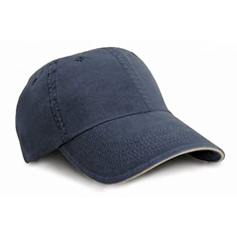 Result Washed Fine Line Cotton Baseball Cap With Sandwich Peak (One Size) (Navy/Putty)
