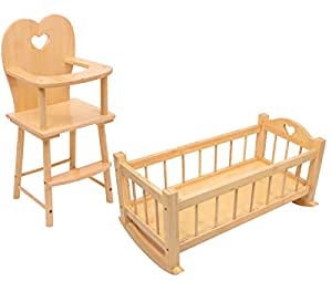 SET OF Dolls Wooden Rocking Cradle Cot Bed and Matching Doll's Feeding High Chair Toy
