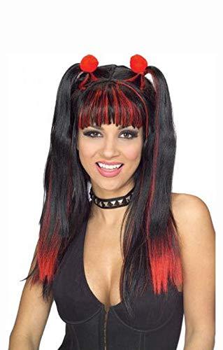 Horror-Shop Schwarz-rote Cheerleader Perücke für Halloween & Karneval