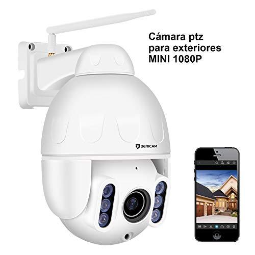 Dericam Mini 1080P Outdoor WiFi-Überwachungskamera, 4X Optische PTZ-Kamera, Autofokus, 30m Nachtsicht, Fester Betrachtungswinkel 90 °, Externer SD-Kartensteckplatz, Wetterfest IP65, S2C Ptz-kamera