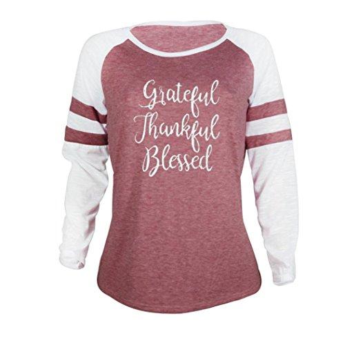 Vêtements LILICAT Mouvement de la mode des femmes autour de la lettre de lettre rayures XL grande taille chemise chemise de Thanksgiving Patchwork T-shirt / TAILLE-S-4XL Pink-2