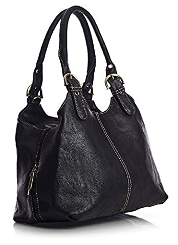 Big Handbag Shop Womens Medium Size Plain Multi Pocket Shoulder Bag with a Long Strap (33622 Black)