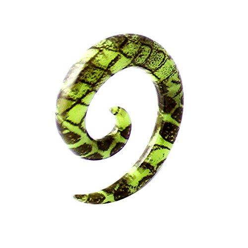 3MM bunt schwarz Skin Schlangenmuster auf grün Muster UV Acryl Spirale verjüngt sich Gauge Ohr Piercing Plug (Verjüngt Und Tunnel 1 2)
