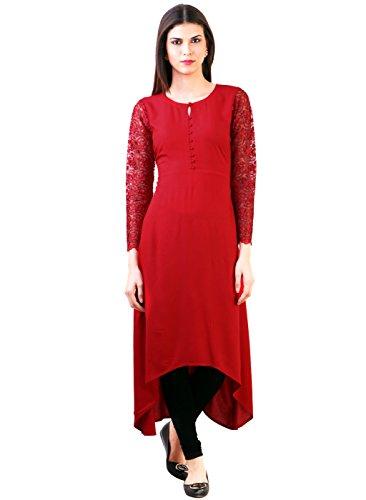 Desi Knots Women's Red Crepe Lon-kurti-(XXL)