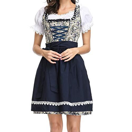 3 Stücke Festival Cosplay Kostüme Kleid für Damen, Selou Oktoberfest Bayerisches Bier Dirndl Maid Kostüm Kleid Frauen Abschlussball Elegant Hochzeit Hippie Festival Festliche Kleidung