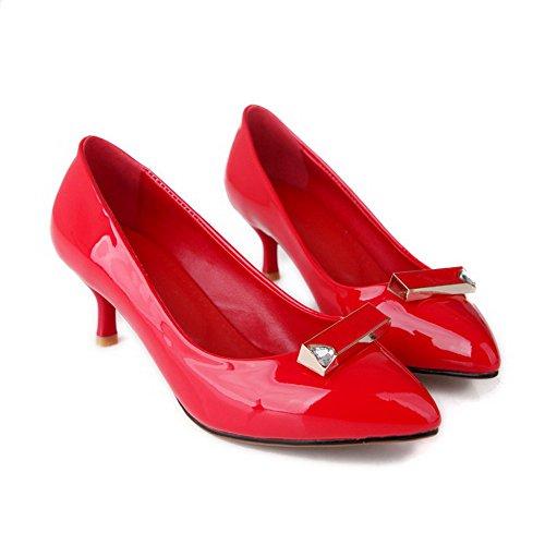 VogueZone009 Damen Spitz Zehe Ziehen Auf Pu Leder Rein Mittler Absatz Pumps Schuhe Rot