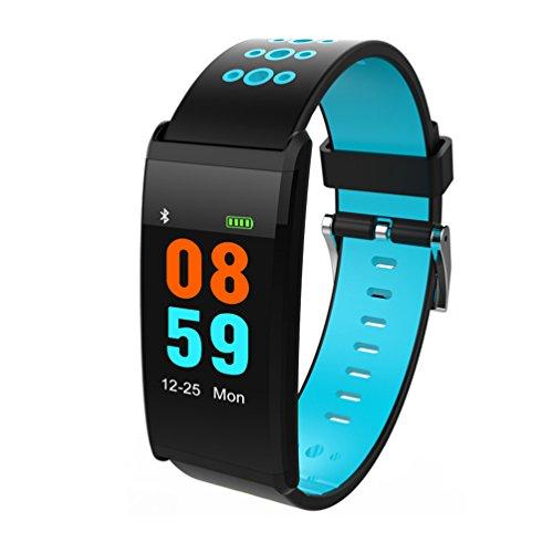 HJYQ Fitness Tracker Smart Armband X20 Farbdisplay Pulsmesser IP68 Wasserdicht Touchscreen Bluetooth Schrittzähler Armband Schlaf-Monitor Für Frauen Männer Android Und IOS,Blue