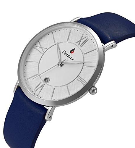 DMwatch Grün Leder Uhrenarmband 3ATM Wasserdicht Mode Weiß Watchcase Silber Lünette Mit Datum Analoganzeige Quarz Watch Für Damen