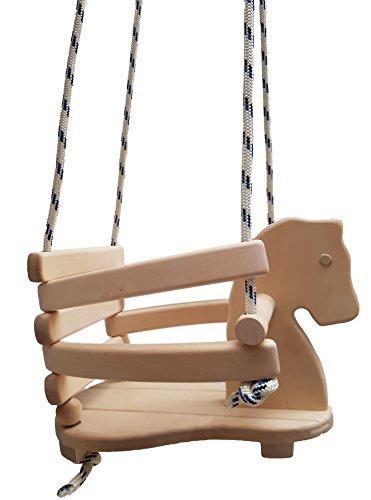 Holzschaukelpferd für Kleinkind | Baby-Schaukelpferd aus Holz | aus 18mm massives Erlenholz | eine Kinderschaukel mit verstellbaren Bügeln und Aufhängeseilen | handgefertigt | klassisches, zeitloses Design | Hü und Hott im Galopp