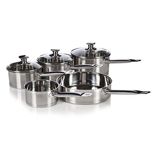 Multicook Professional Induction Stainless Steel Cookware, Saucepan Milk & Frying Pan Set - 5 Piece