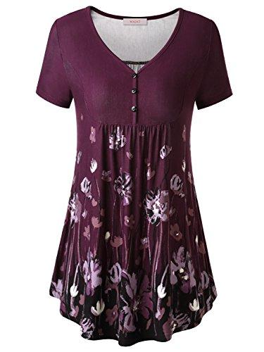 WAJAT Damen Henleyshirt LongTee V-Ausschinitt Tunika Vintage Basic Lila Blumen L