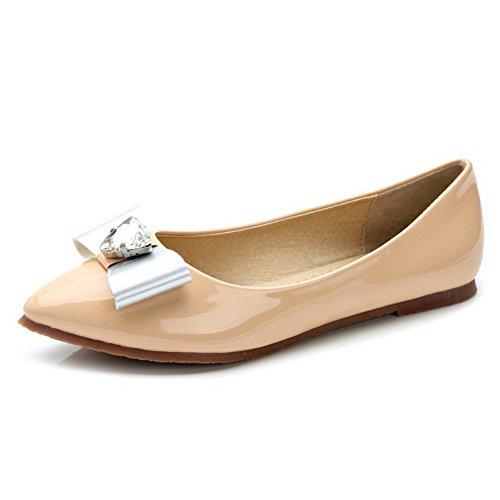 Material Spitz Ohne Weiches Absatz Farbe diamanten Aprikosen Ziehen Leder Schuhe Aalardom Zehe Pu Damen Auf Flache wF0qnfI