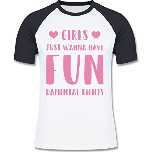 Statement Shirts - Girls just wanna have fundamental rights - zweifarbiges Baseballshirt für Männer Weiß/Navy Blau